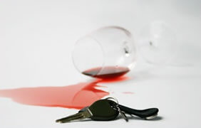 Car keys and red wine, DUI Attorney concept
