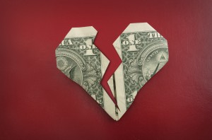 origami heart made of money